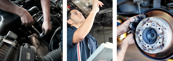 A picture of a mechanic working on an engine.                    A picture of a mechanic inspecting the underside of a car.                    A picture of a mechanic replacing a brake pad